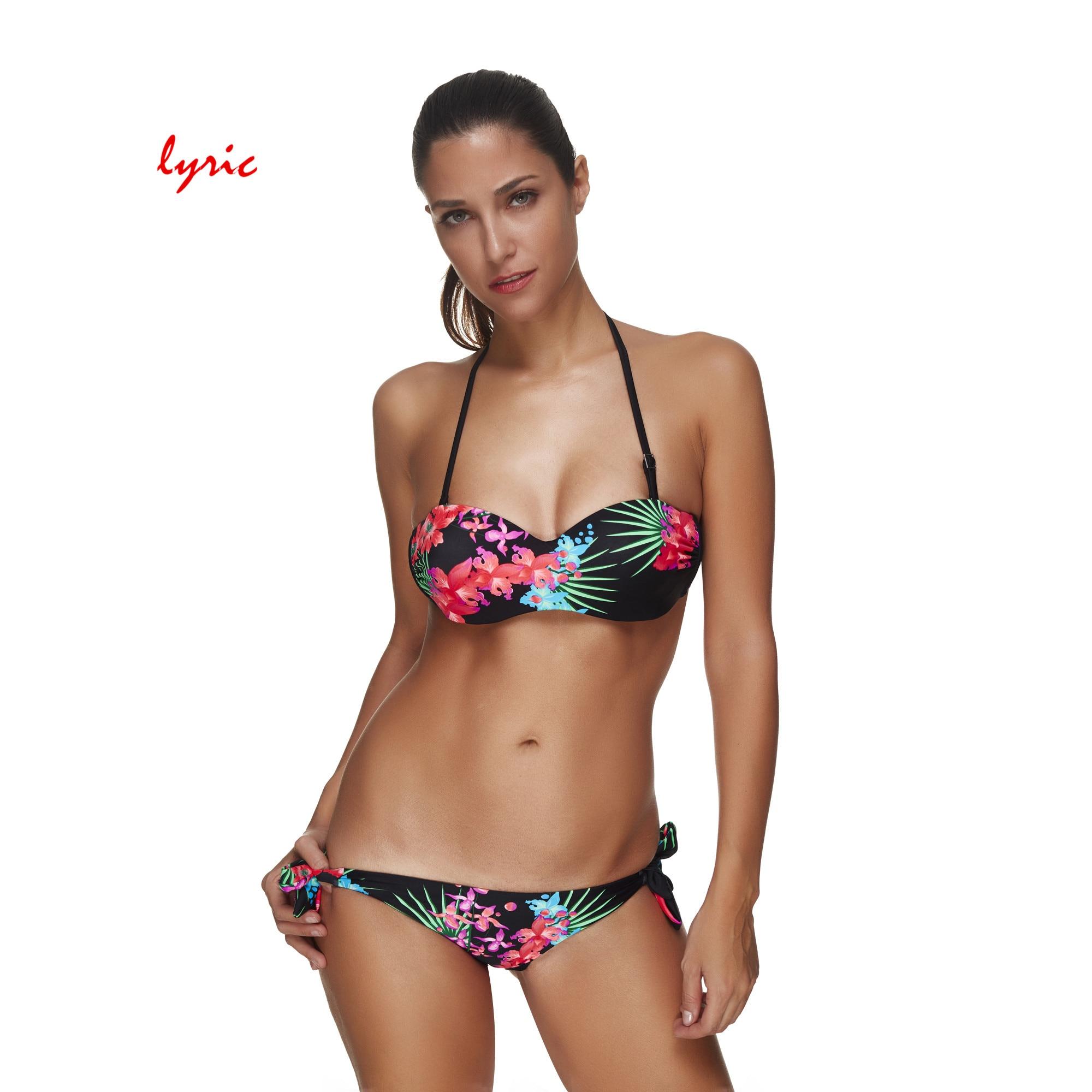 lyric Brazilian Bandeau Bikini Set Tanga Swimsuit For Women Push Up Swimwear Plus Szie Bathing Suit Swimming Costume Bather Wear kiniki kelly tanga mens