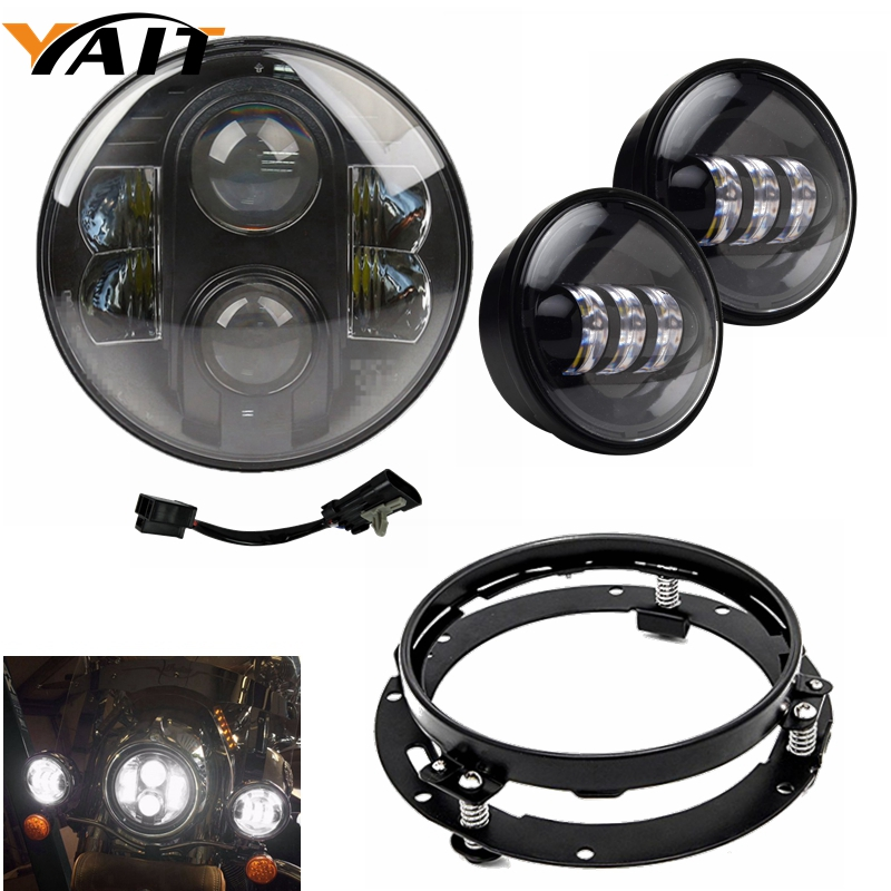 Yait For Harley Davidson Street Glide Fat Boy Road King Heritage 7 inch LED Headlight Daymaker 4.5 inch Fog Light Bucket Bracket every inch a king