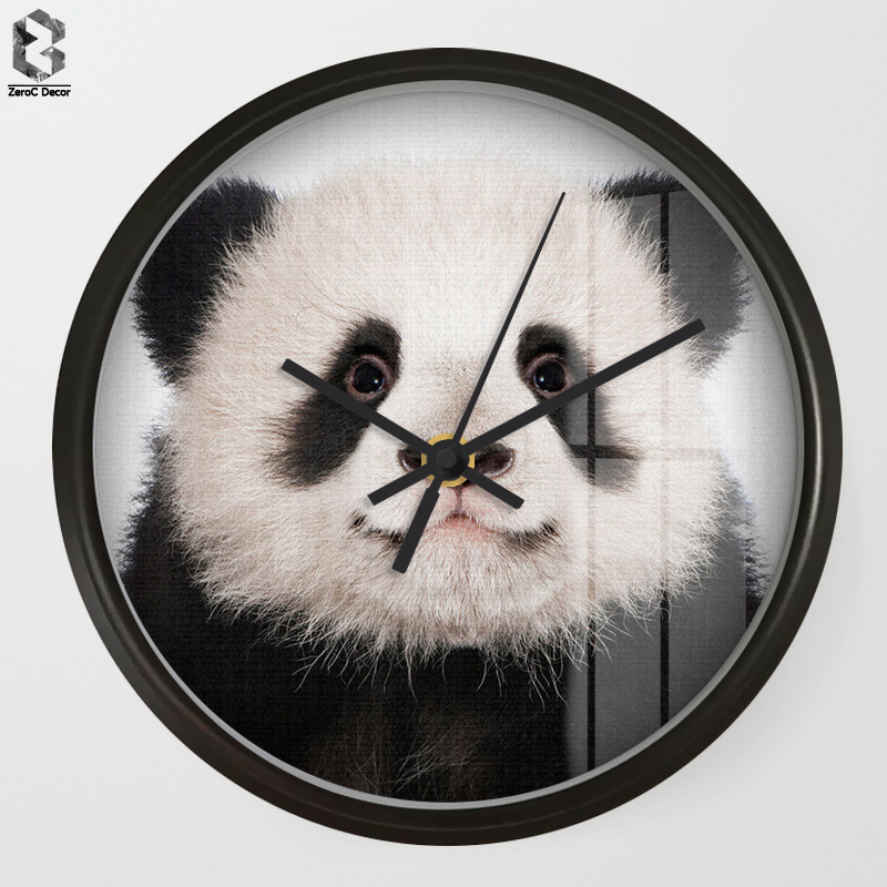 Chic Art Wall Clock Panda For Kids Room Wall Decor, Table Decorative Mute Quartz Clocks  ...