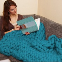 Winter Acrylic Chunky Knit Blanket Rough Wool Hand Autumn Woven Blanket Sofa Bed Blanket Multicolor