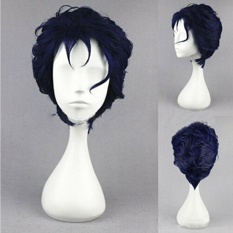 Anime JoJo's Bizarre Adventure Kujo Jotaro Wig Black Blue Mixed Heat Resistant Synthetic Hair Cosplay Wigs + Wig Cap