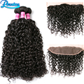 Brazilian Water Wave With Closure 3 Bundles With Frontal Closure Curly Weave Human Hair With Closure Brazilian Hair Weave Bundle