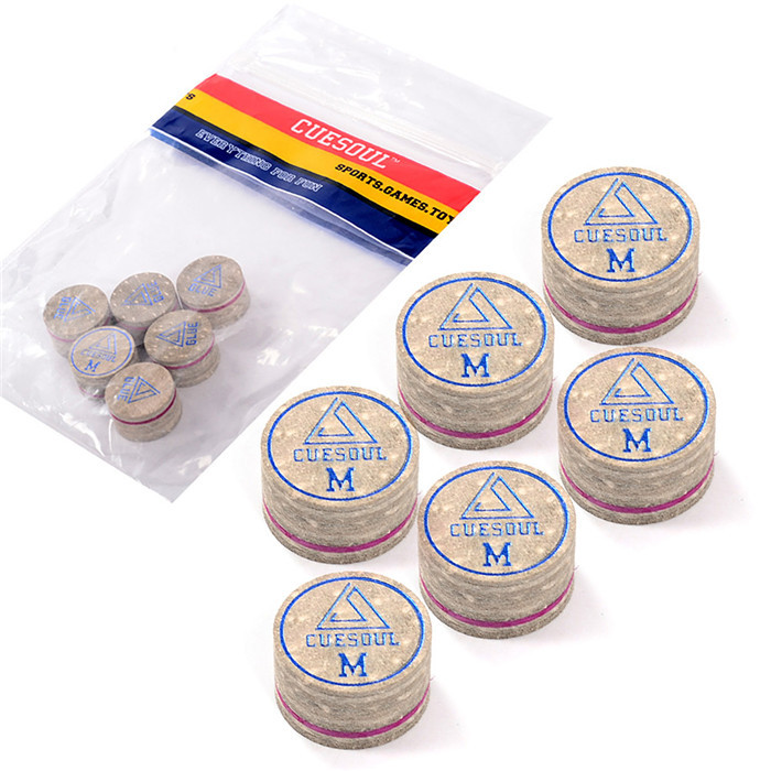 6pcs / set Cuesoul 14mm Medium Baked Pig Leather 당구 풀 스누커 큐 팁, 고품질 및 무료 배송