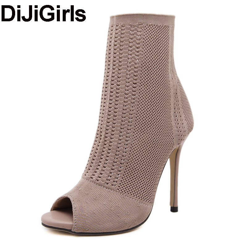 DiJiGirls Women's Boots Elastic Knit Stretch Sock Boots Peep Toe Ankle Boots Cut Out Gladiator Shoes Stiletto High Heel Bootie  peep toe stiletto heel hollow out boots
