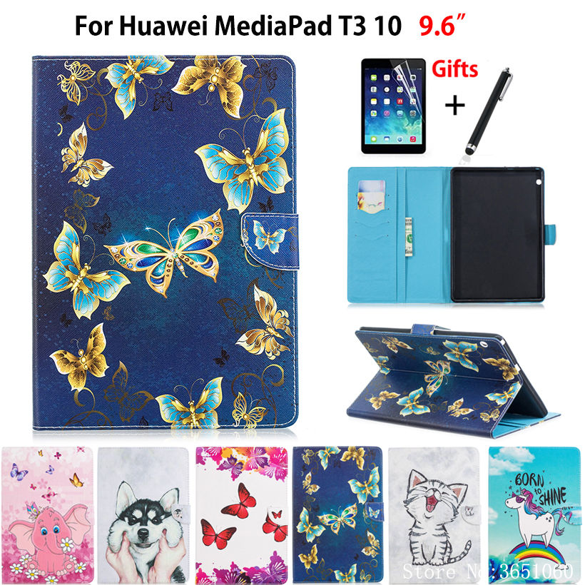 Butterfly Painted Case For Huawei Mediapad T3 10 AGS-L09 AGS-W09 AGS-L03 9.6