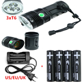 6000 lumen LED Outdoor Torch Flashlight 3xCREE XM-L T6 Flashlamp light 3 Modes+4pcs 18650 batteries+charger