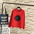 Floral Patch Designs Women Sweaters Casual O-neck Plus Size Knitting Pullovers Sweater Black Red TY048