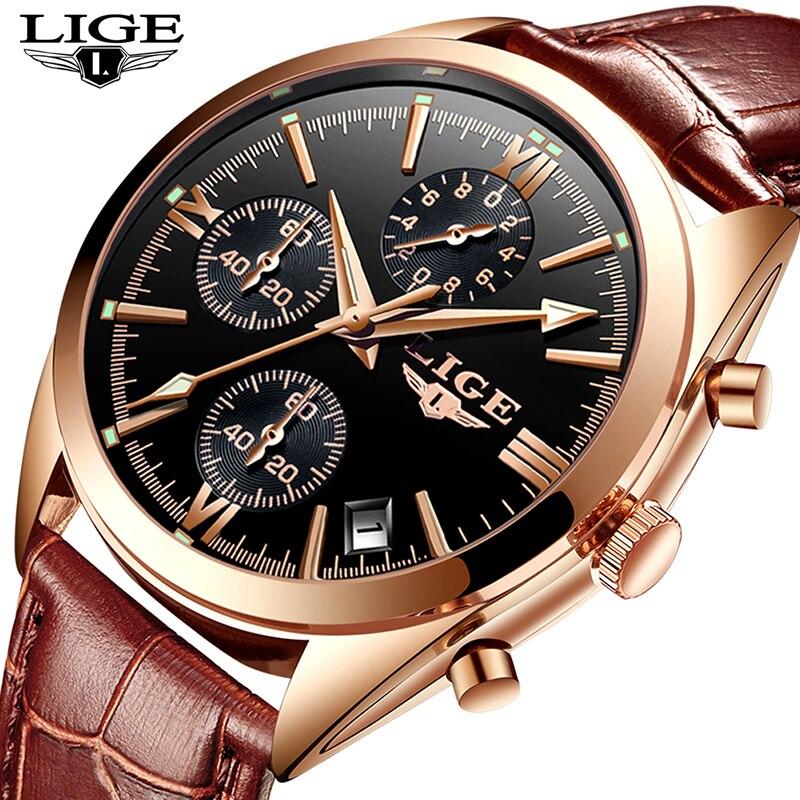 LIGE New Fashion Mens Watches luxury brand quartz wristwatches Men Watch Leather Waterproof Male Wristwatches Relogio Masculino цены