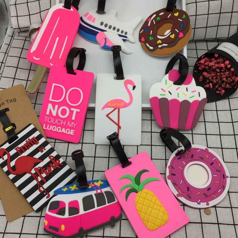 Etiquetas de silicona con forma de fruta para equipaje, identificación de dirección, Maleta de viaje, regalos, accesorios de viaje, 1 Uds.