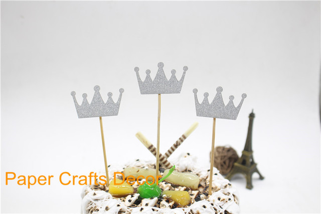 Aliexpresscom Buy 3pcslot Siliver Glitter Crown Birthday Cake
