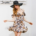 Simplee halter hombro mujeres summer dress sexy hollow out short dress elástico mini alta cintura de la impresión floral dress 2017