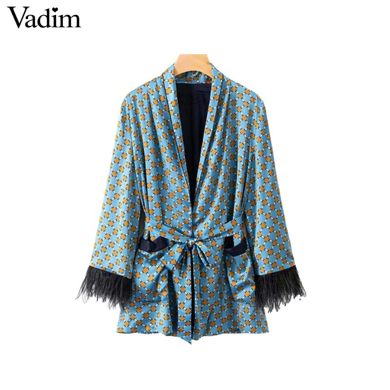 Vadim women vintage print loose kimono coat bow tie sashes pockets tassel decorate outerwear oversized ladies autumn tops CA060(China)