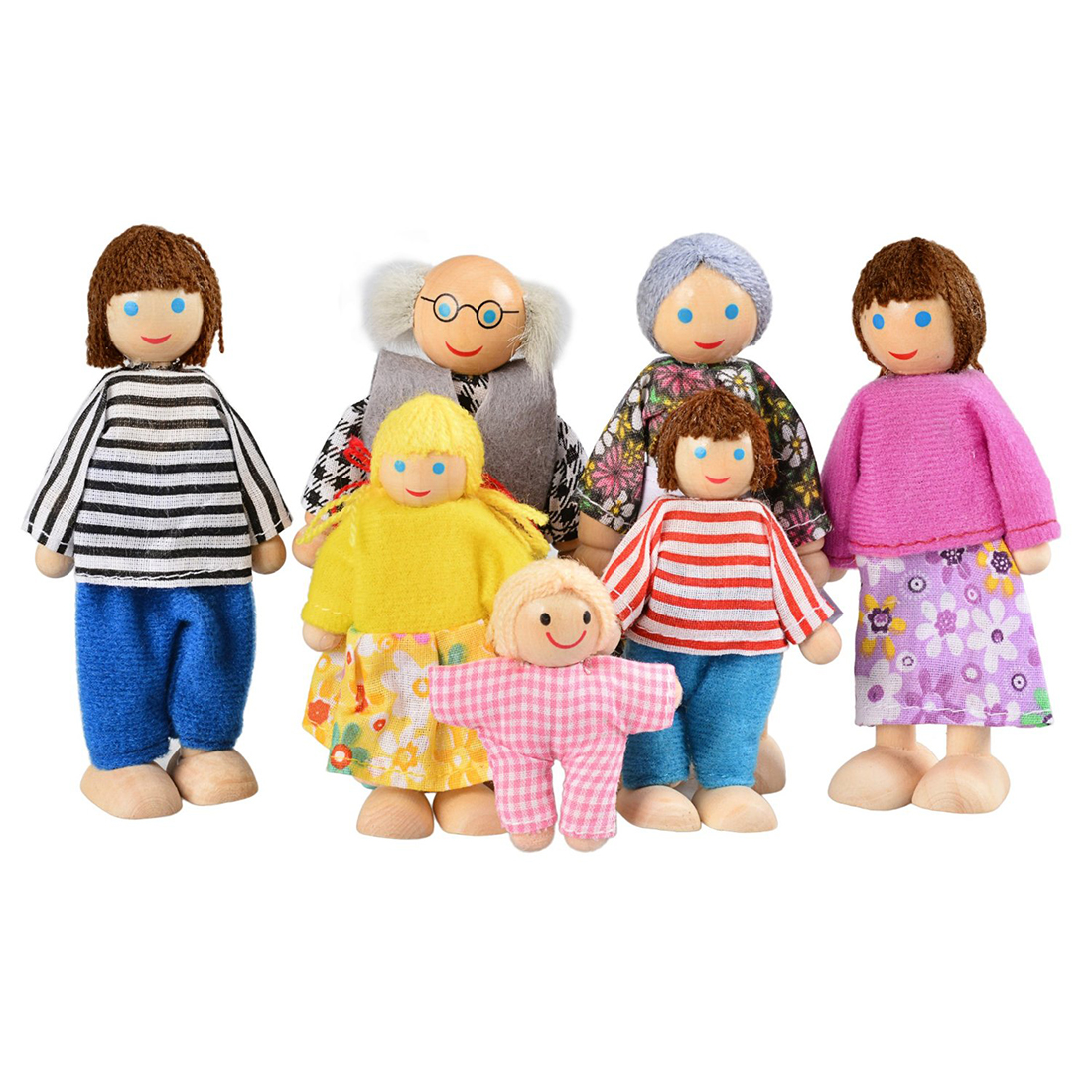Happy Doll Family of 7 6 5 4 People Wooden Toy Set Kids Playing Doll Gift Kids Pretend Toys Happy Dollhouse Family