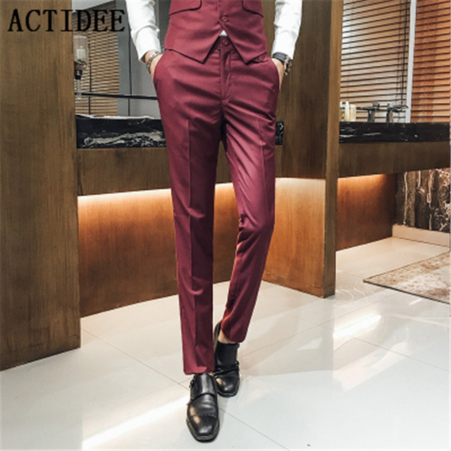 2018 New Men Suit Pants Man Casual Western Style Business Trousers