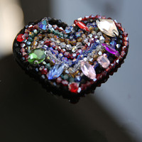 Diy Craft Sew On Patch Decorative Heart Applique Sequin Beads Flower Patch For Clothes Bags