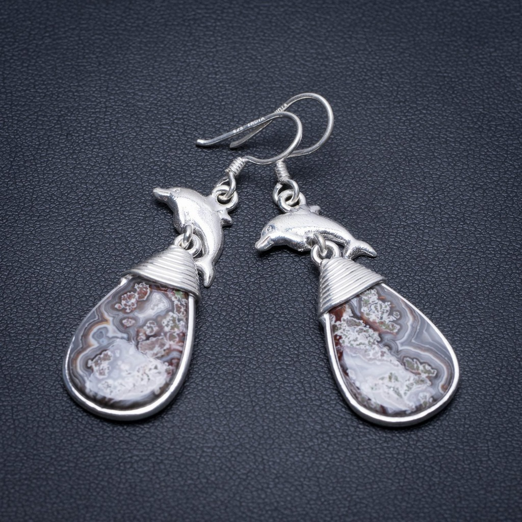 Natural Crazy Lace Agate Dolphin Handmade Boho 925 Sterling Silver Earrings 2 S1694Natural Crazy Lace Agate Dolphin Handmade Boho 925 Sterling Silver Earrings 2 S1694