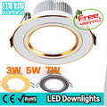 Free Shipping Super Bright 3W 5W 7W LED Downlights With 3 Light Colors (Warm White/Neutral White/Cold White)