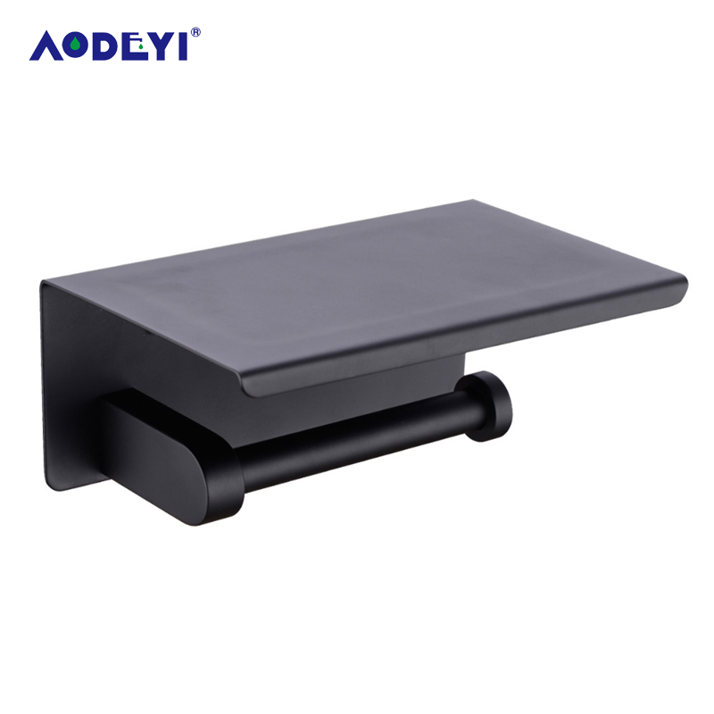 AODEYI Black Stainless Steel Paper Box Roll Holder Toilet Paper Holder Tissue Box Bathroom Accessories Matte Black Or Chrome panda style cute tissue roll box small gadget trash black