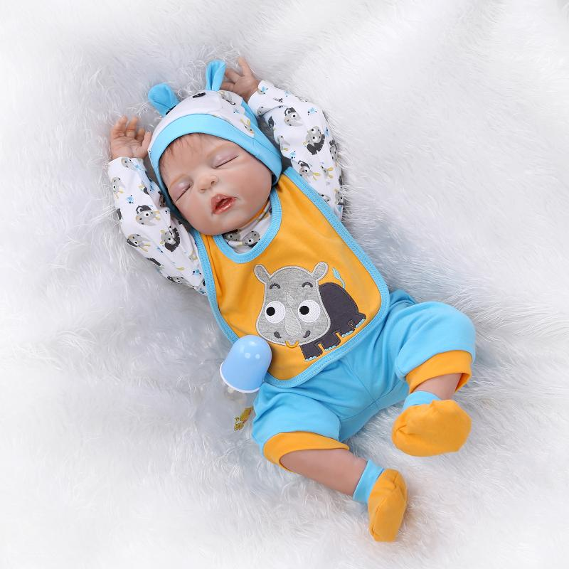 New 23 Inch/57cm reborn baby dolls full silicone body boy gender closed eyes can enter w ...