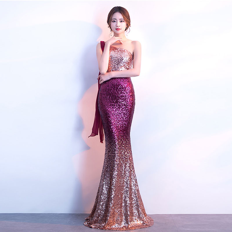 <font><b>Sexy</b></font> Red Gradient Sequin One Shoulder Sleeveless <font><b>Luxury</b></font> Party <font><b>Dress</b></font> Club Wear Elegant Women Long Special Occasion <font><b>Dresses</b></font> <font><b>2018</b></font> image