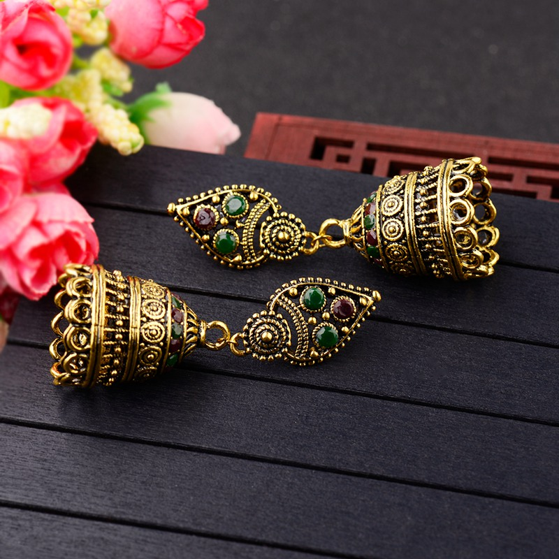 DOUVEI Classical Style Gold Color Bohemian Earrings Women Boho Red&Green Vintage Hollow Ethnic Earrings Turkish Tribal HXE076 5