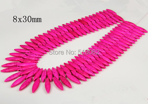 15.5 inches strand of Smooth Horse Eye Rose Red Howlite Beads, Loose Tur quoise Pendant Beads Jewelry, Craft Supplies