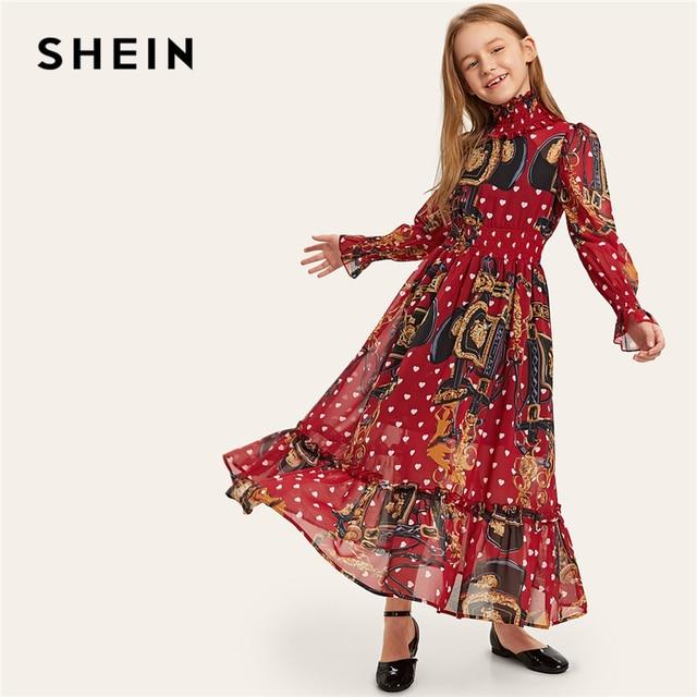 Шеин Kiddie Стенд воротник эластичный пояс рюшами подол цепи печати Макси платье для девочек 2019 с длинным рукавом повседневное Детские платья для девочек