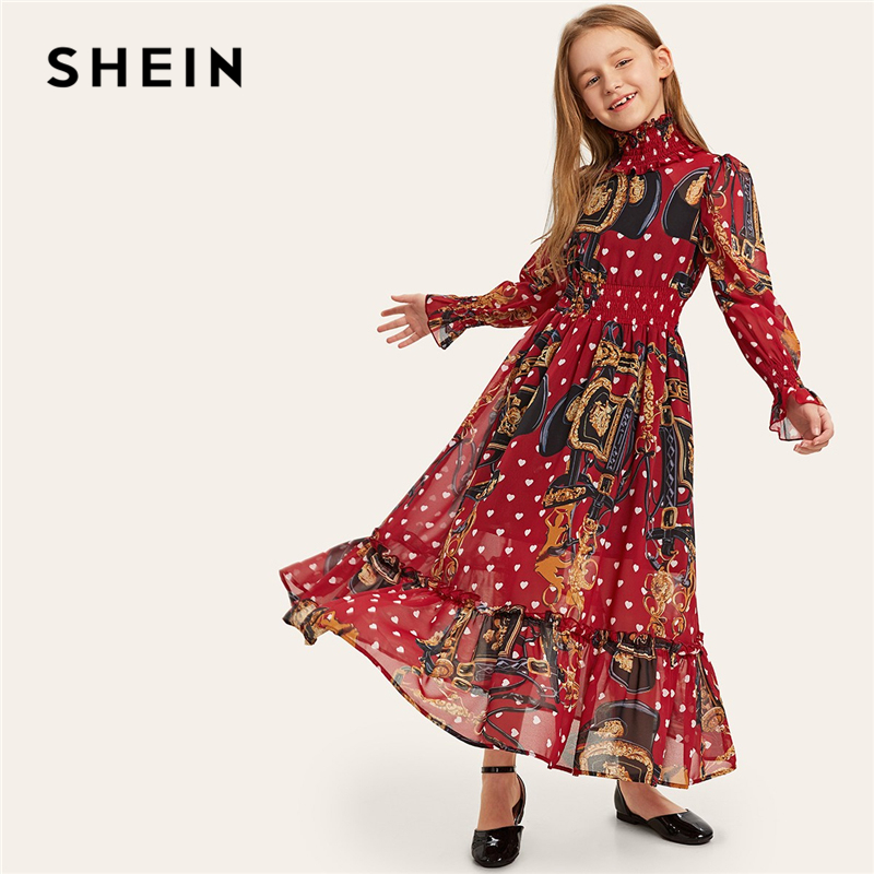 SHEIN Kiddie Stand Collar Elastic Waist Ruffle Hem Chain Print Maxi Girl Dress 2019 Long Sleeve Casual Kids Dresses For Girls floral print back cut out maxi dress