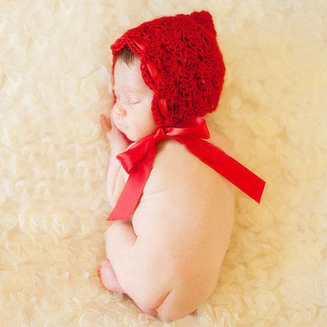 Baby Beanie Hats Knit Cap Newborn Photography Props Infant Bonnet Red Crochet Hats Shower Gifts A101 Photo Props Accessories