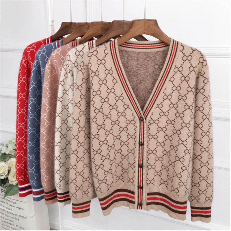 mujeres v QIHUANG chaqueta Rebeca de punto 2018 suéter de lana 6n6qSZ0