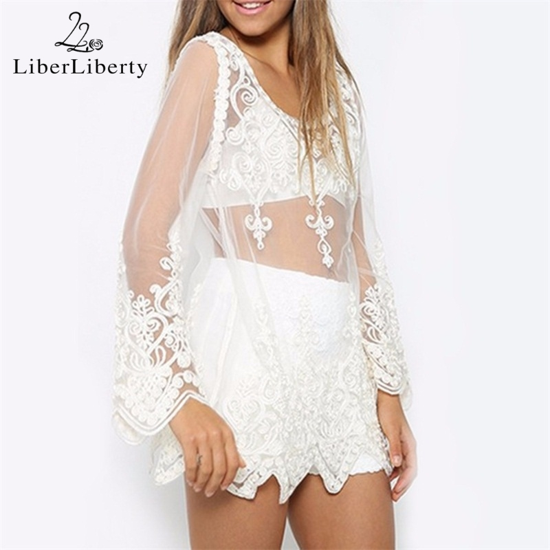 4aa9d485123f1 Womens Sexy Cover Ups Beachwear 2018 Transparent Shirt Crochet Lace Blouse Long  Sleeve Beach Swimsuit Bikini Embroidered Tops-in Cover-Ups from Sports ...