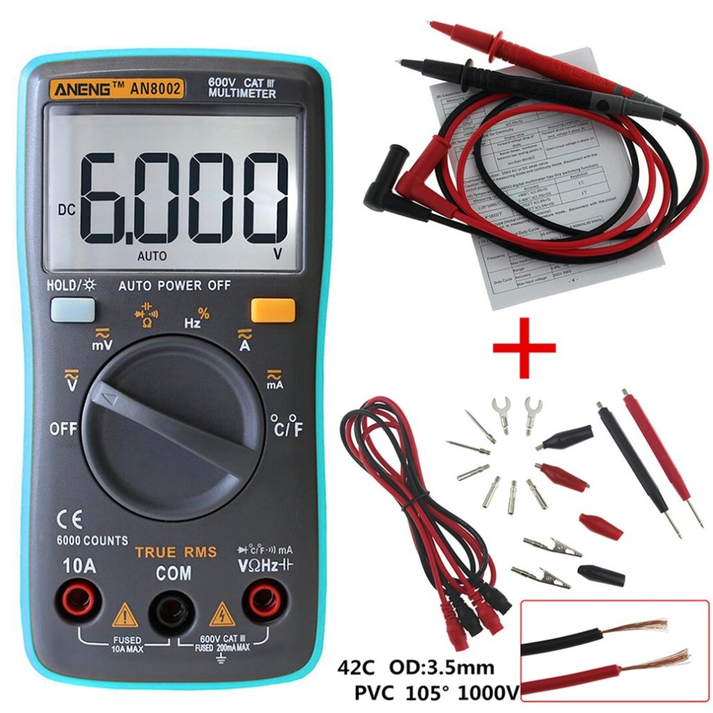 Multimeter Digital Multimeter AN8002 LCD Display Digital Multimeter 6000 Counts AC/DC Ammeter Voltmeter Ohm Meter Tester цены