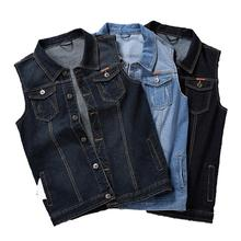Idopy Classic Denim Vest Men Sleeveless Jean Jacket Vests Turn-down Collar Waistcoat For Men Big and Tall Plus Size M-8XL