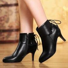 Plus la taille 34-47 femmes bottes talons hauts stiletos chaussures printemps automne bottes pour femmes bout pointu bottines à lacets en cuir