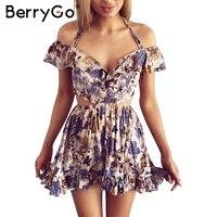 BerryGo Hollow Out Beach Party Dresses Halter Off Shoulder Summer Dress Women Floral Print High Waist