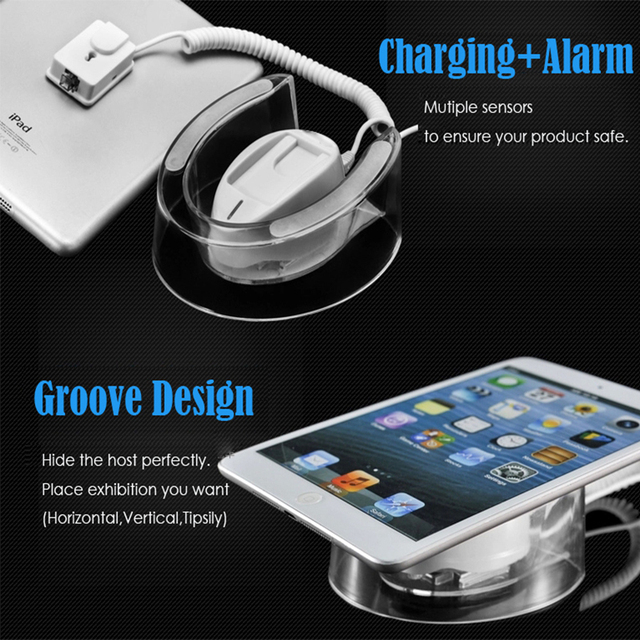 Tablet security display Ipad alarm stand andriod pad anti theft device with charging function for Apple/Samsung tablet retail