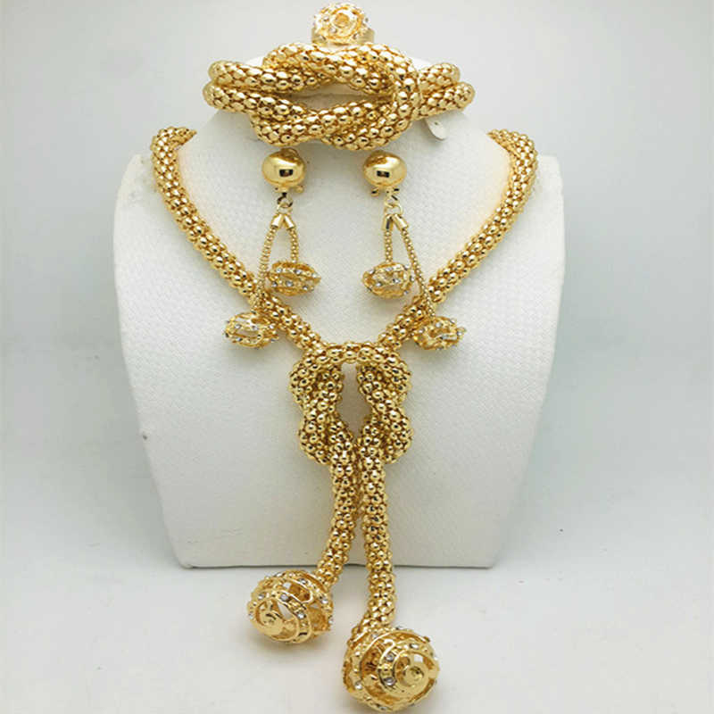 Exquisite Dubai Gold color Jewelry Set Women customer Nigerian Wedding Fashion African Beads Jewelry Set Brand wholesale