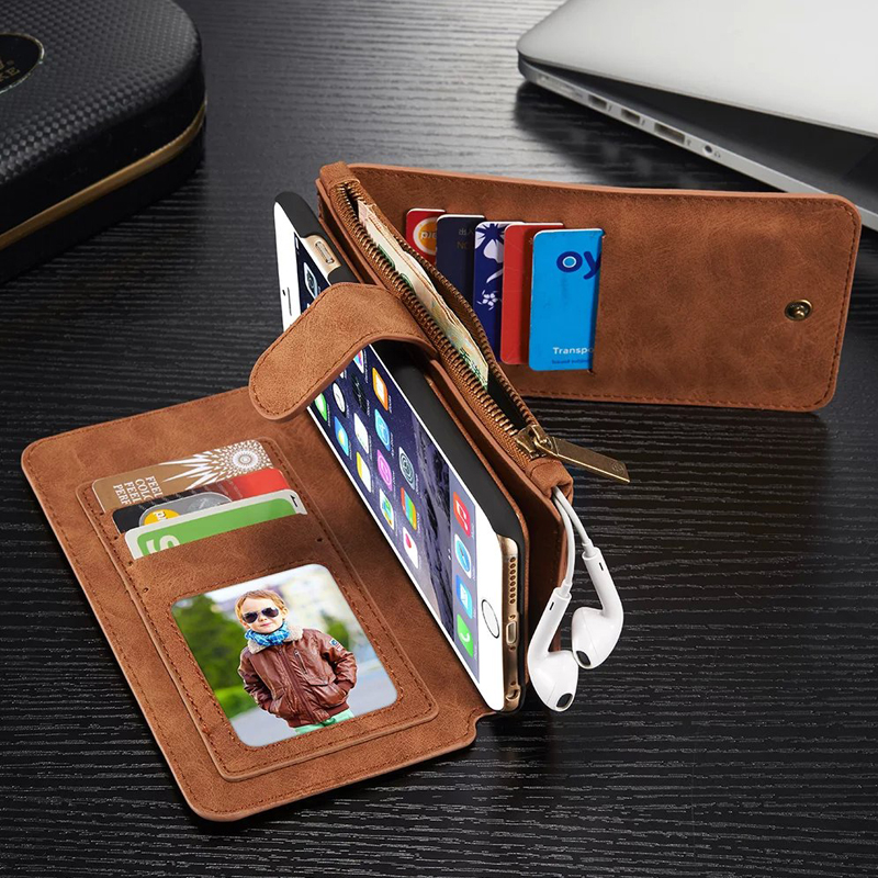 c8a60f5ea184 Leather Cover Case for iPhone 6 6s Plus Genuine Cow Leather Wallet ...