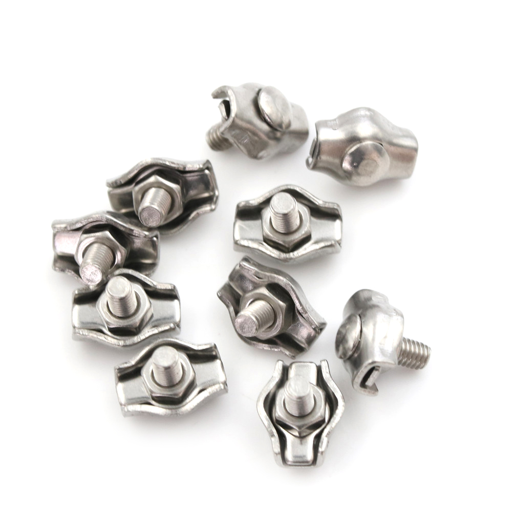 M3 304 Stainless Steel 1//8//3mm Wire Rope Cable Clip Clamp 10PCS