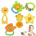 6pcs/lot Baby Rattle Toys Animal Star Phone Hand Bells plastic Baby Toy High Quality Newbron Gift Christmas  Free Shipping
