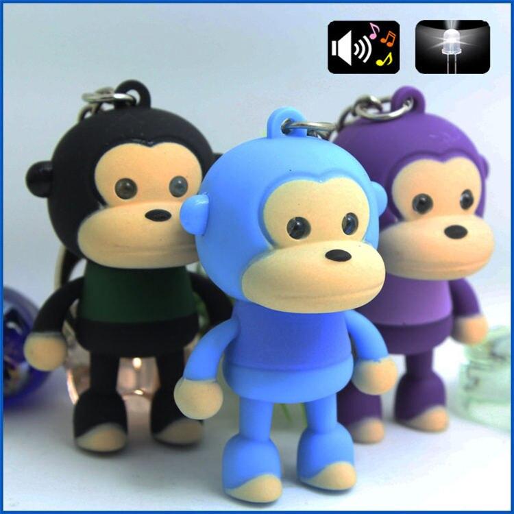 cute monkey sound light keychains font b flashlight b font sound ring cartoon toys animation font