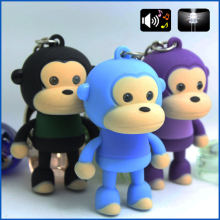 cute monkey sound light keychains flashlight sound ring cartoon toys animation led keychains child gift free dhl wholesales