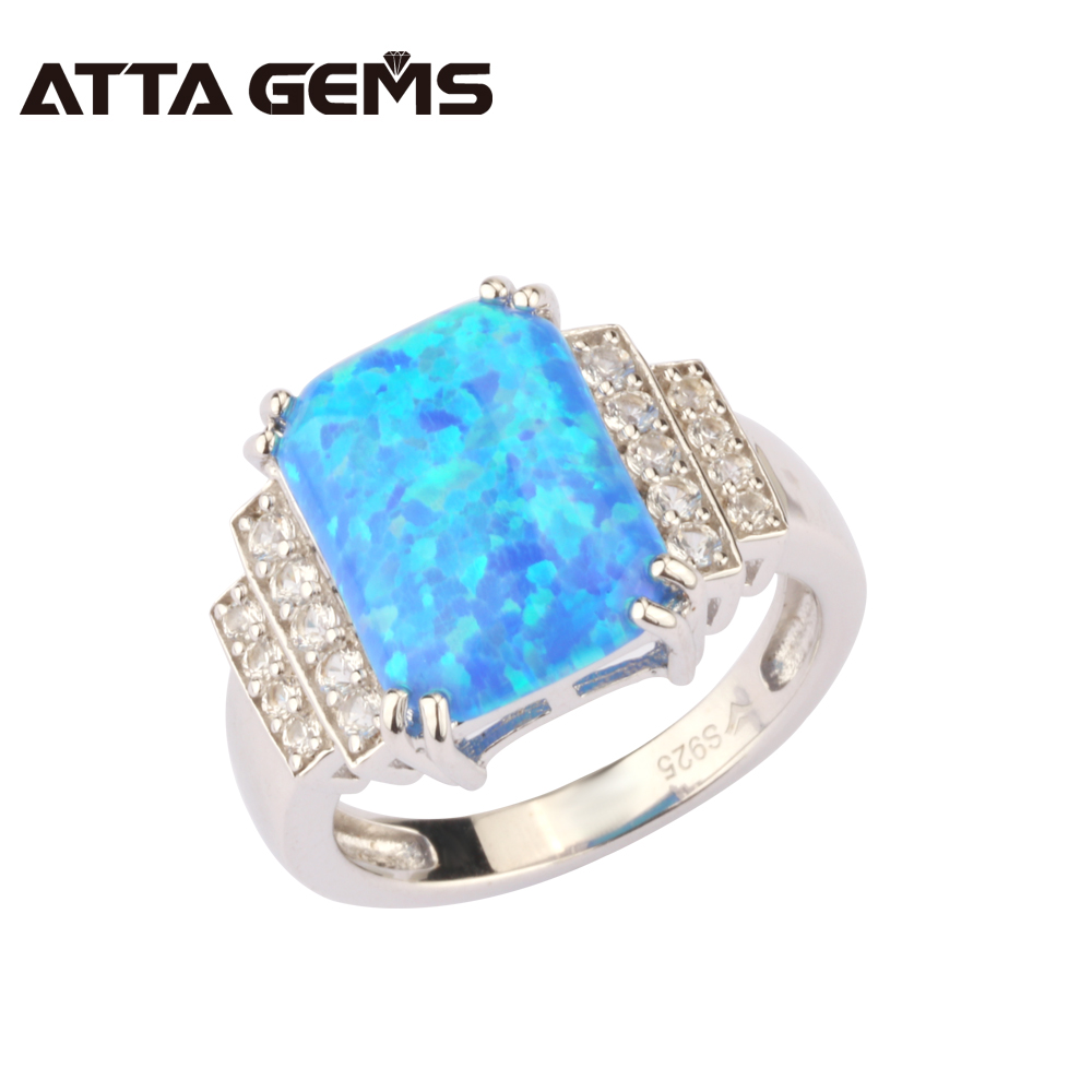 Blue Opal Silver Ring For Women Created Opal Stone Solid Silver Ring Colorful Opal 925 Silver Ring Special Design Factory Price