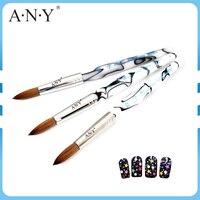 Herhangi bir mermer tarzı akrilik kolu yüksek kalite samur saç 20# kristal akrilik tırnak fırçası tek parça