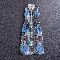 Novelty Dress 2016 Summer Muslim Abaya Sleeveless Special Tank Lace Print Hollow Turn Down Pretty Charming