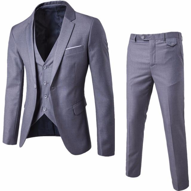 2018 Men's Fashion Slim Wedding Suits Men's Business Clothing Groomsman Three-piece Suit Blazers Jacket Pants Trousers Vest Sets