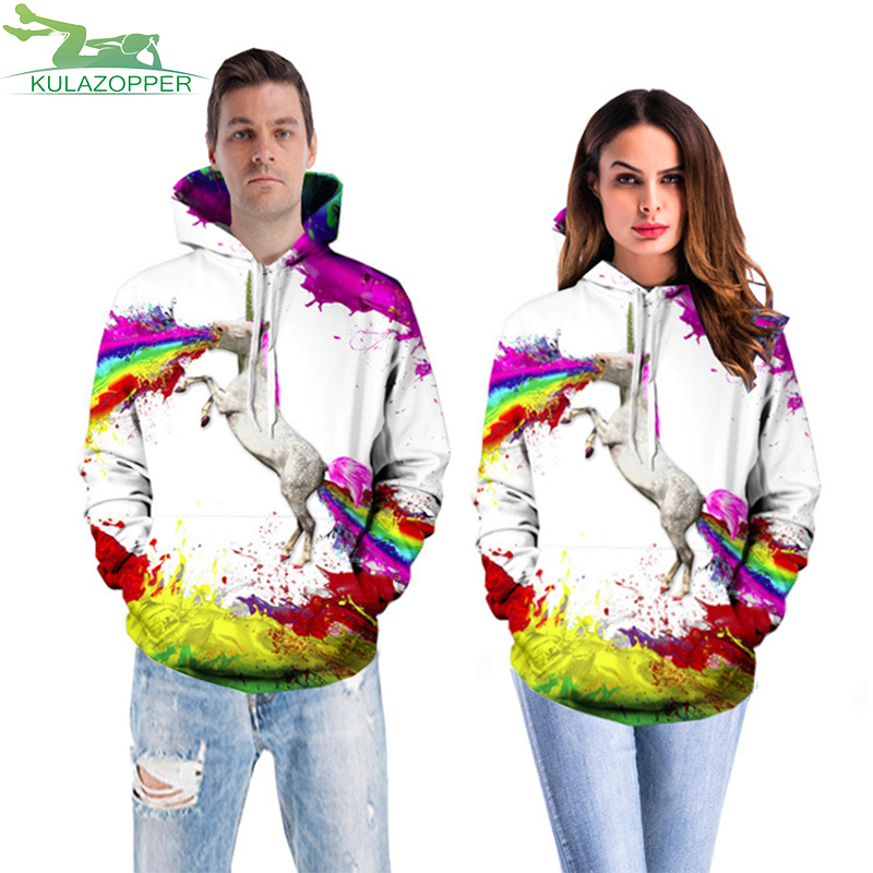 2018 Newest 3D Print Unicorn Pullover Harajuku Hoodies for Women/men Causal Loose Plus Size Sweatshirts Femme Tracksuit ZS089