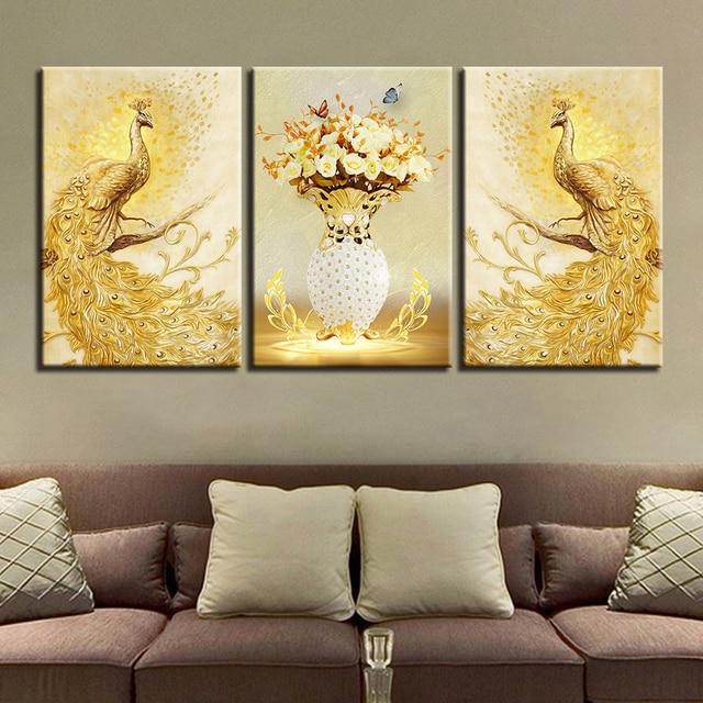 Us 923 42 Offna Płótnie Plakaty Hd Drukuje Zdjęcia ścianie W Salonie Sztuki Ramy 3 Sztuk Złoty Paw Para I Kwiaty Obrazy Wystrój Domu W Na Płótnie