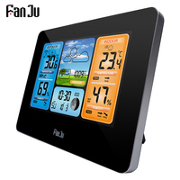 FanJu FJ3373B LCD Wireless Weather Station Alarm Clock Digital Thermometer Hygrometer Humidity Wall Type Forecast Daily