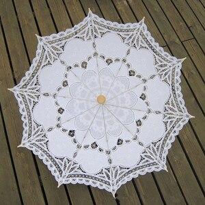 Image 5 - Sombrilla bordada de algodón para novia, sombrilla de encaje blanco marfil, sombrilla decorativa para boda